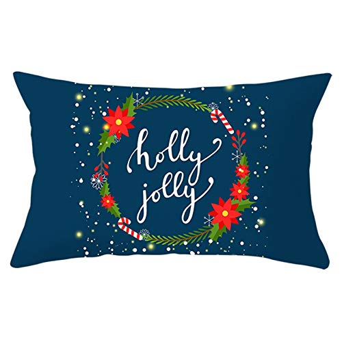 Aartoil Christmas Throw Pillow Covers, Christmas Decorations Pillowcase Holly Jolly Wreath Candy Cane 12x20 Inches Rectangle Cushion Case for Sofa Couch, Dark Blue Style 17