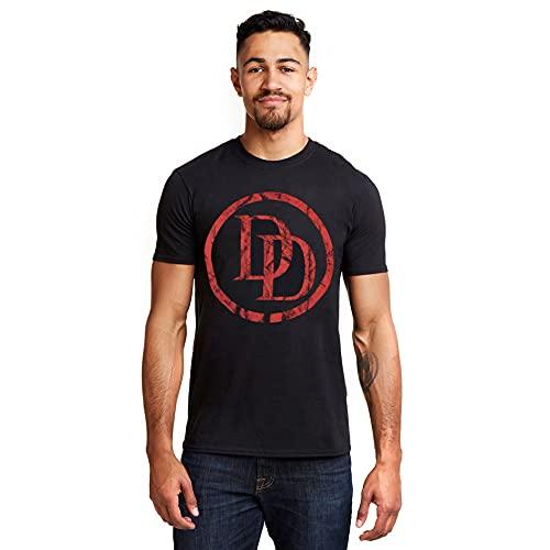 Marvel Daredevil Logo Camiseta, Negro (Black Blk), L para Hombre