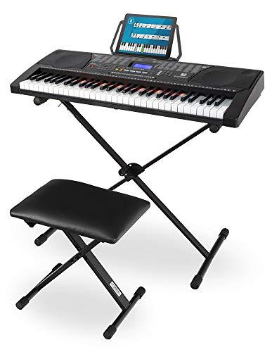 McGrey LK-6150 61 Tasten Keyboard Set - Einsteiger-Keyboard mit 61 Leuchttasten - 255 Sounds und 255 Rhythmen - integrierter MP3-Player - inkl. Ständer und Hocker - Schwarz