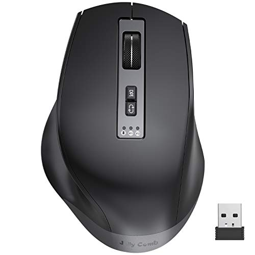 Bluetooth Mouse, Jelly Comb Multi-Device Wireless Mouse (BT4.0+BT4.0+2.4G), Rechargeable Ergonomic Bluetooth Mouse, Control up to 3 Devices for Laptop MacBook Windows PC Tablet and More-Black MS040