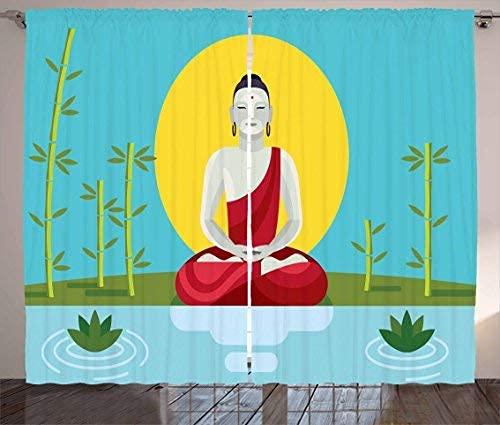 NA Rideaux de Jardin Zen, Pratique spirituelle Religieuse Yoga méditation thème libération et Pleine Conscience, Rideau pour Chambre à Coucher Salle à Manger Salon 2 Panneaux Ensemble Multicolore