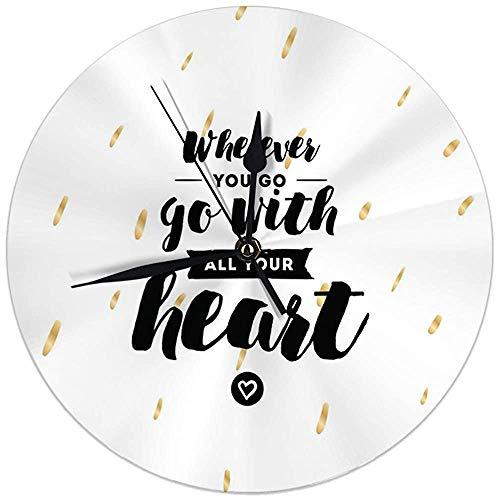 Butty wandklok geen tikken 9,8 inch, waar je ook gaat ga ga je hele hart grote ronde horloges