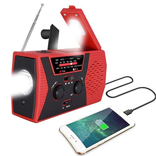 WSHA Radio de Emergencia, Banco de energía de 2000 mAh, Radio meteorológica Solar de manivela portátil con Linterna LED y lámpara de Lectura, Alarma SOS para Acampar en casa y Supervivencia,Rojo