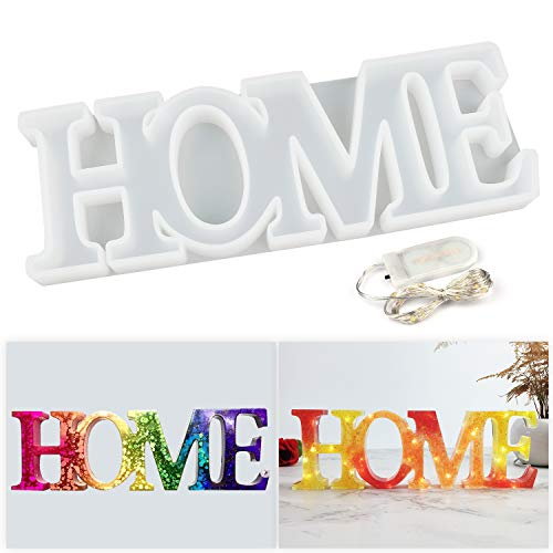 LETS RESIN HOME Mold,Resin Mold,Silicone Resin Molds with a Fairy Light to Sparkle Your DIY Resin Project