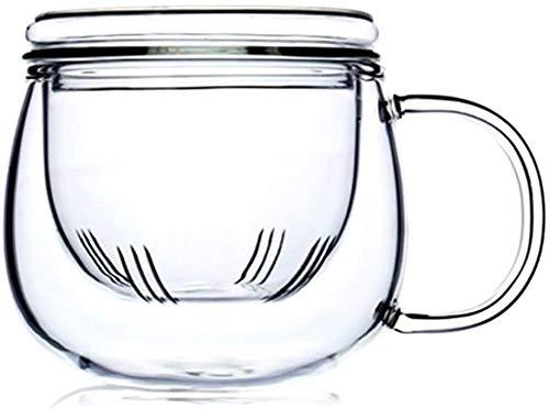 Teetasse aus Glas mit Teesieb, 340 ml, Borosilikatglasbecher, langlebig, hitzebeständig, geeignet für Tee, Getränke, Eiskaffee