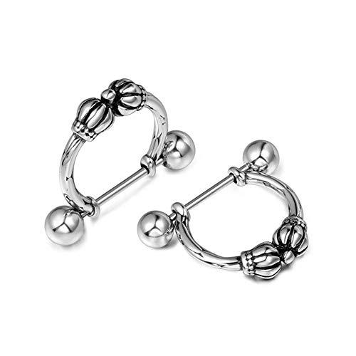 N/P Pendientes de joyería de Acero Inoxidable para Hombre Pendientes geométricos de Rock Europeos y Americanos Pendientes de Corona