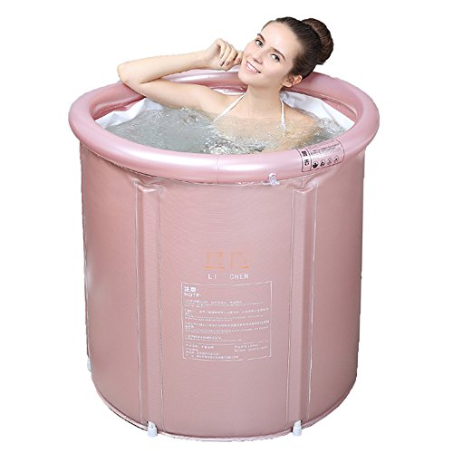 Adult Folding Bathtub Thick Plastic Bath Tub Inflatable Simple Bath Tub Home SPA Bathtub (Color : Pink, Size : L)
