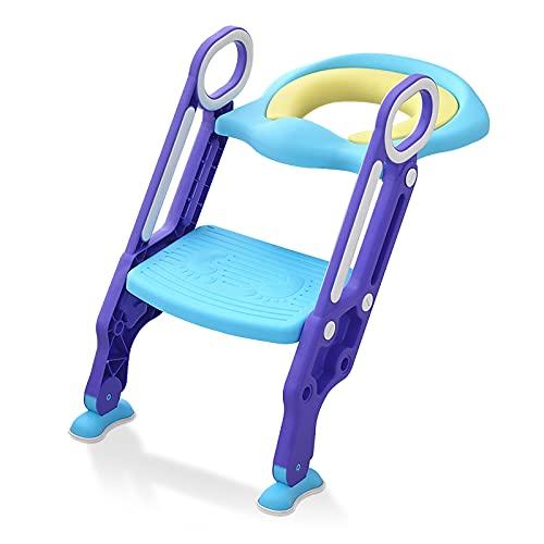 HENGMEI Toilettentrainer Toilettensitz kinder mit treppe für 1-7 jährige Töpfchentraining Toiletten-Trainingssitz, klappbar und höhenverstellbar, Blau+Lila