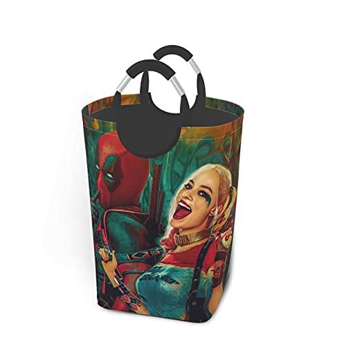 Dead_pool Harley Quinn - Juego de ropa sucia, plegable, para viajes, baño, hogar, universidad, dormitorio para hombres y mujeres, 50 L