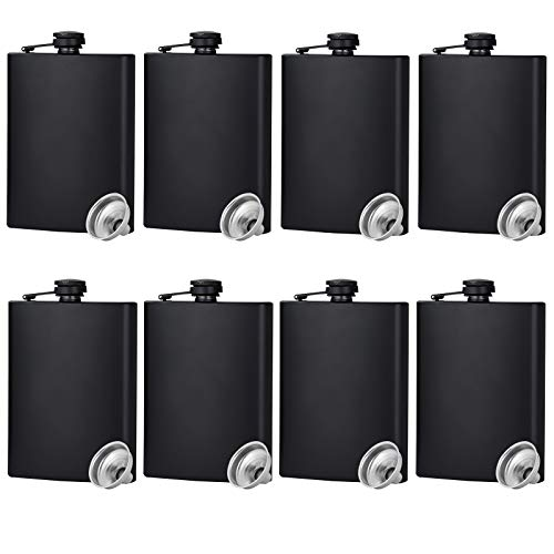 Hip Flask for Liquor Matte Black Stainless Steel Leakproof with Funnel,8 Oz, Set of 8