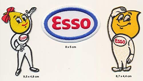 Esso Essolinchen Aufnäher Patches 3 Stück Tankstelle Vintage Racing Motorsport USA
