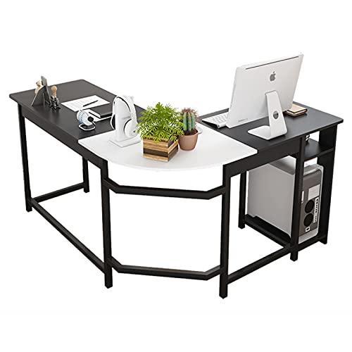 Escritorio esquinero Escritorio grande Escritorio negro Mesas gaming para ordenador, ideal para el hogar, oficina, escritorio en forma de L, tablero de densidad media, blanco negro(Color:black)
