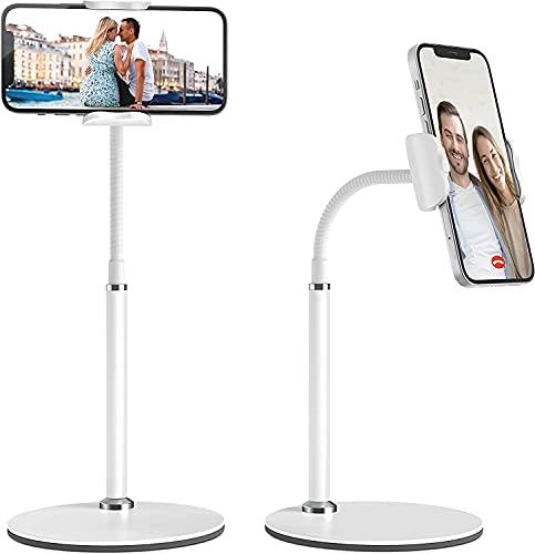 Supporto Cellulare, Telefono cellulare da tavolo regolabile Supporto per telefono cellulare multi-angolo, compatibile con iPhone 12 11 Pro Xs Max Xs 8 7 Plus, Samsung S20 S10, Altri Smartphone-Bianco