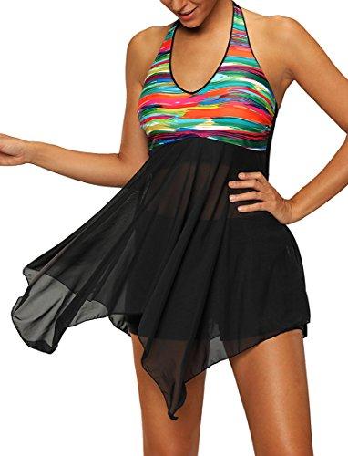 Bettydom Damen-Badeanzug, Einteiler, Strand-Kleid, Bikini-Neckholder mit kurzen Shorts, große Größe, mehrfarbig Gr. S, 2-Noir