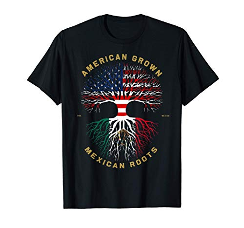 American Grown With Mexican Roots Tree USA Flag Unique Gifts T-Shirt
