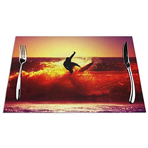 Mantel individual, tapetes de vinilo tejidos de PVC, manteles individuales antiadherentes de aislamiento térmico antideslizantes para surf en el océano para cocina, comedor, restaurante, café (juego d