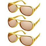 Rockstar Glasses Rock Sunglasses 50's 60's Gold Frame Costume Sunglasses (3 Pairs, Gold Frame Style)