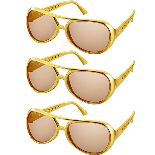 Rockstar Brille Rock Sonnenbrille 50's 60's Gold Rahmen Kostüm Sonnenbrille (Gold Rahmen Stil, 3 Paare)