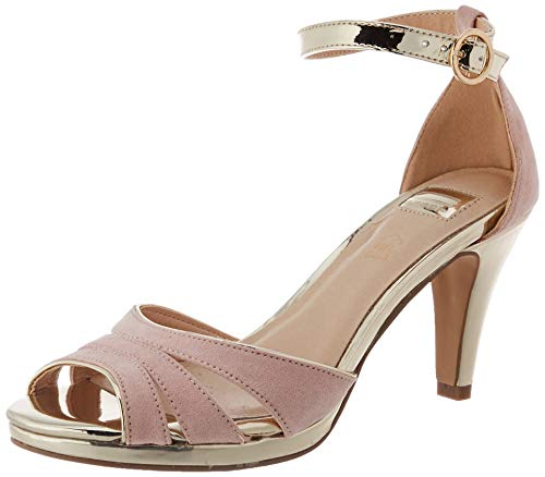 Eferri Sandalia de Antelina con Espejo, Zapatos con Tacon y Correa de Tobillo para Mujer, Rosa (Palo 269), 38 EU