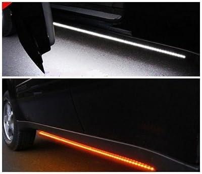 "[2pc 70-Inch] Truck Light Running Board LED Kit for Extended Cab & Crew Cab Trucks - [AMBER/WHITE] - Turn Signal Side Marker & Courtesy Light Bar Strip for Pickup Trucks, SUV, Cars, and Work Van [70""]"