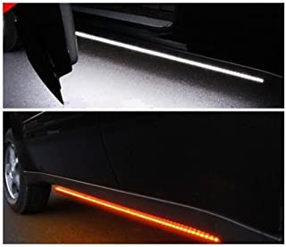 [2pc 70-Inch] Truck Light Running Board LED Kit for Extended Cab & Crew Cab Trucks - [AMBER/WHITE] - Turn Signal Side Marker & Courtesy Light Bar Strip for Pickup Trucks, SUV, Cars, and Work Van [70