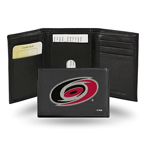 NHL Anaheim Ducks Geldbörse, Bestickt, Leder, dreifach faltbar, NHL Carolina Hurricanes Embroidered Genuine Cowhide Leather Trifold Wallet, Teamfarbe, 3.25 x 4.25-inches
