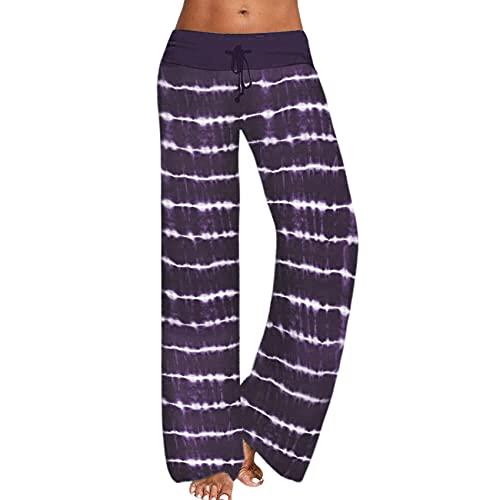 Pantalones Anchos Sueltos De Mujer Casual Pantalones Deportivos De Yoga con Estampado Tie-Dye