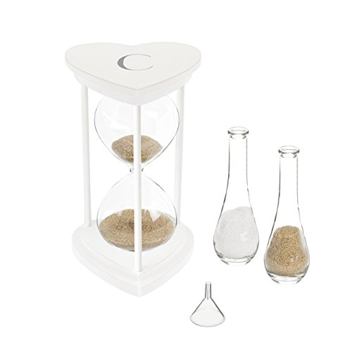 Cathy's Concepts S3967W-7-C Personalized Silver Unity Sand Ceremony Hourglass Set, One Size, White with Silver Print