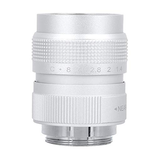 Goshyda Lente de cámara de 25 mm f1.4, Recubrimiento de película Multicapa MC Apertur Manual Lente de cámara de Metal + Vidrio óptico para cámaras sin Espejo(Plata)