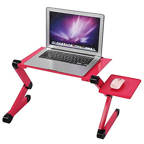 WNN-T Adjustable Aluminum Laptop Desk/Table Vented with CPU Fans Mouse Pad Side Mount-Notebook-Light Weight Ergonomic TV Bed Lap Tray Stand Up/Sitting-Red T