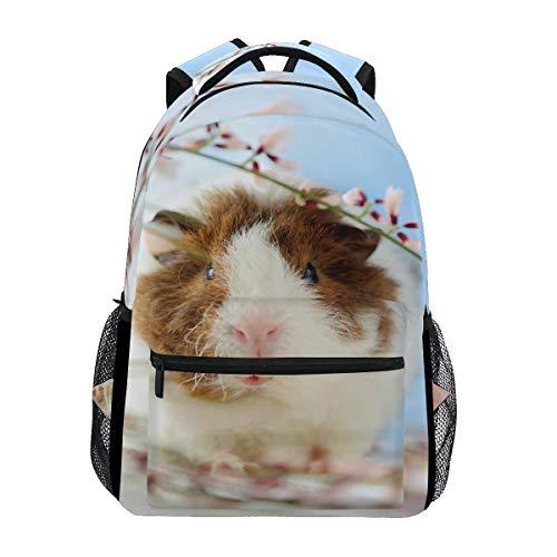 WXLIFE Animal Guinea Pig Flower Backpack Travel School Shoulder Bag for Kids Boys Girls Women Men