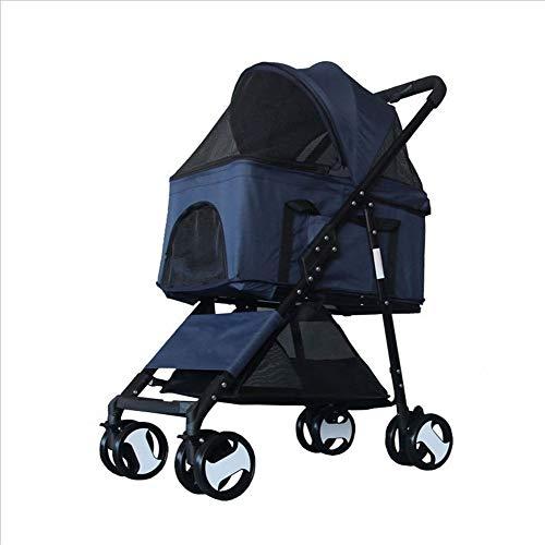 RYAN Hond Pushchair, 4 Wheel Kinderwagen Pram Carrier Reizen Senior Opvouwbare Huisdier Handtas Winkelwagen Kat Puppy Trolley, Blauw