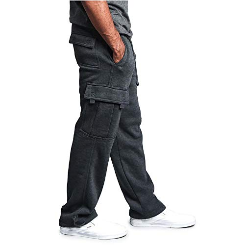 Healter Jogginghose Herren Baumwolle Streetwear Design Sweatpants Breite Beine Jogger Cargo Hose Lange Regular Fit Mode Sporthose Männer Trainingshose Gym Freizeithose