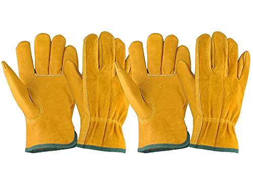 EINSKEY Gartenhandschuhe Herren Damen Dornenfest Rosenhandschuhe Wasserdicht Outdoor Arbeitshandschuhe Leder Handschuhe (Zwei Paaren)