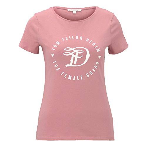 TOM TAILOR Denim Damen 1016431 Basic Logo T-Shirt, Cozy Rose (25901), L