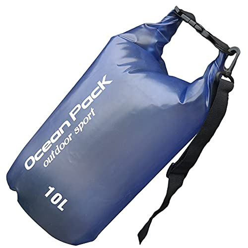 Wenxu Bolsa seca a prueba de agua, bolsa seca de 10 l de capacidad, bolsa de almacenamiento portátil segura con correa larga ajustable para kayak al aire libre, canoa, pesca, rafting, natación,