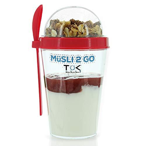 TOK® Müslibecher to go/Joghurtbecher to go mit Löffel/komplett dicht, BPA frei, wiederverwendbar/ 450ml Becher & 150ml Deckel/Reise-Müsli-Becher für den gesunden Snack unterwegs (Coralle)