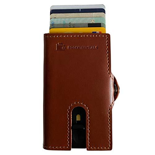 Bond Smart Wallet mit Münzfach | Kreditkartenetui | Geldklammer | Aluminium Slim Wallet für bis zu 8 Karten | RFID Geldbörse | Cardholder | Geldbeutel von Pocketsentials in Braun