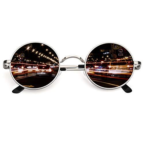 CGID Retro Vintage Sonnenbrille, inspiriert von John Lennon, polarisiert mit rundem Metallrahmen, für Frauen und Männer Silber Grau E01