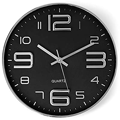 Bernhard Products Black Wall Clock 12 Inch Stylish Modern Silver Silent Non-Ticking Quartz Battery Operated Round 3D Decorative Design for Home/Office/Kitchen/Bedroom/Living Room, Easy to Read