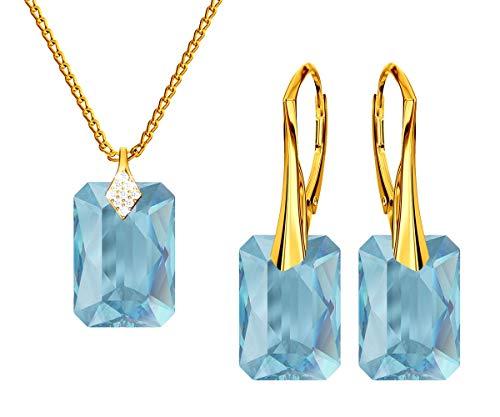 *Beforya Paris* Novedad esmeralda *aguamarina* – plata 925 / chapado en oro de 24 K – joyas con cristales de Swarovski Elements – Pendientes y collar con caja de regalo
