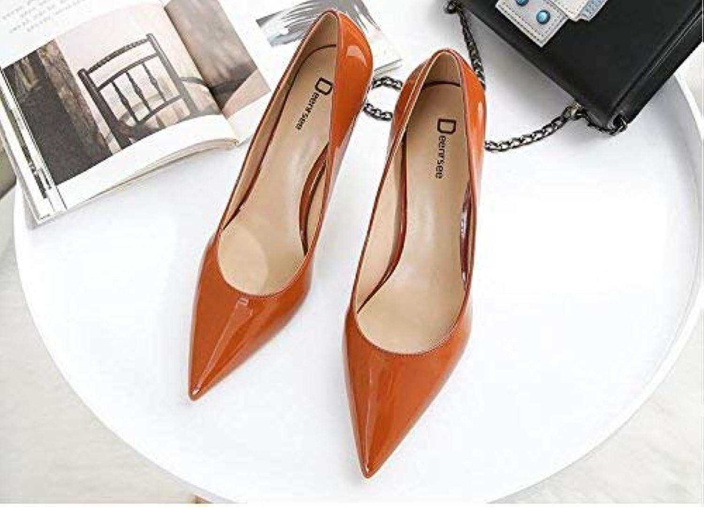 Gericht Schuhe Einzelne Schuhe weibliche frische High Heels Frau zeigte zeigte zeigte fein mit Brautschuhe Hochzeit Schuhe weiblich (Farbe   EU 40, Größe   Caramel Farbe 6CM)  db84c8