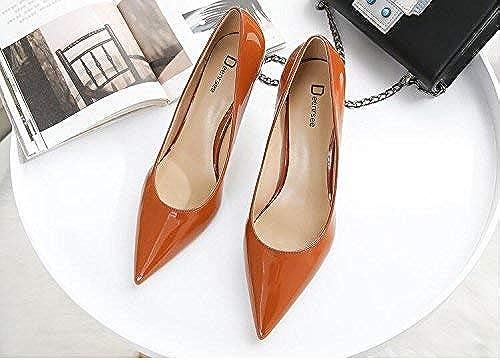 Hhoro zapatos de Corte zapatos para mujer zapatos de tacón Altos para mujer, con Punta Fina y zapatos de Novia zapatos de Boda para mujer (Color   39, tamaño   Caramel Color 8CM)