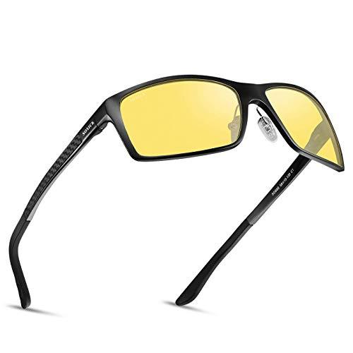SOXICK Night Driving Glasses Anti Glare Polarized HD Night Vision Safe Glasses Light Al-Mg Frame Adjustment (Y3318/1)