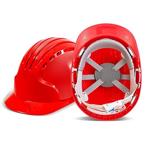 LIAN Schutzhelm Belüftung Baustellenarbeiter Helm Anti-Kollision Atmungsaktiv Verdickung Schutzhelm (Color : Red)