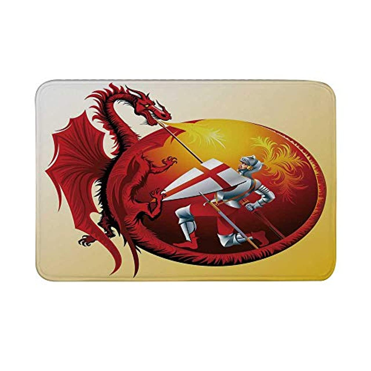 Dragon Non Slip Door Mat,Saint George with Fire Spitting Winged Creature Royal Knight Graphic Decorative Floor Mat for Bathroom Living Room,23
