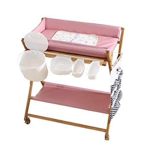 ZAQI Fasciatoio Brevi Fasciatoio da toeletta con Vasca da Bagno e Ruote, vaschetta portabottiglie per Bagno/Locale Commerciale/Servizi igienici/Asilo Nido (Color : Pink)