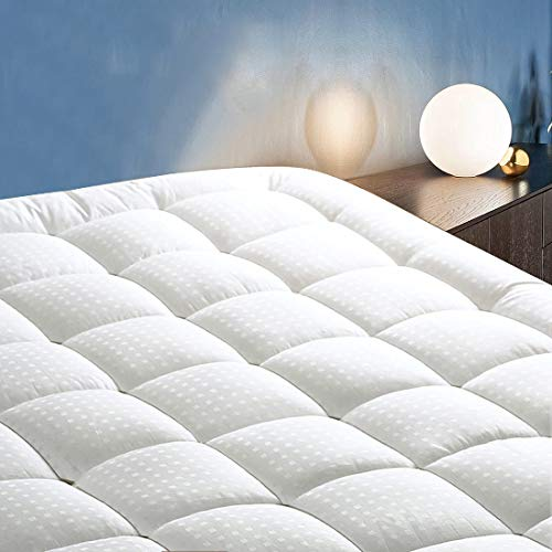 COTTONHOUSE Queen Size Cooling Mattress Topper Pad Cover, Cotton Top Pillow Top with Down Alternative Fill (8-21' Fitted Deep Pocket)