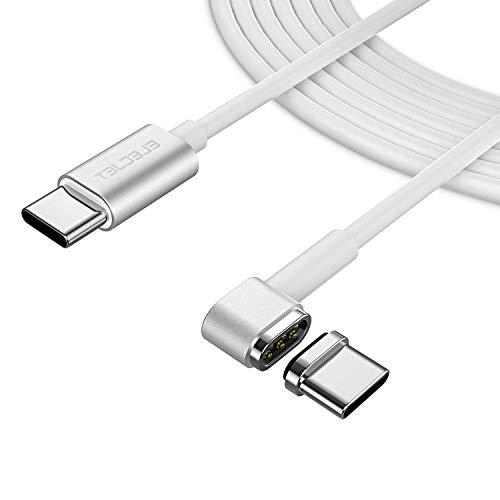 Elecjet für MacBook Pro Magnetische USB C Ladekabel, 6 Pin Reversibel Magnetic Typ-C Schnellladekabel für MacBook (Pro) 2018 & Andere USB-C Geräte, Weiß(6.6ft)