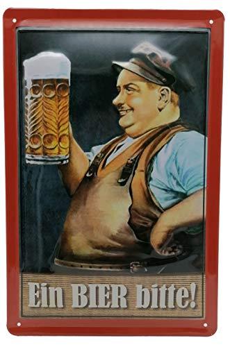 Ein Bier Bitte, hochwertig geprägtes Blechschild 30 x 20 cm, Biergarten, Kneipe - Retro Werbung
